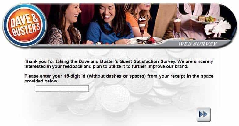 Dave and Buster's customer survey
